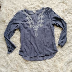 J.Crew grey longsleeve embroidered blouse …